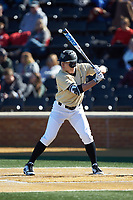 Michael Ludowig (22) of the Wake Forest Demon Deacons at bat against the Gardner-Webb Runnin' Bulldogs at David F. Couch Ballpark on February 18, 2018 in  Winston-Salem, North Carolina. The Demon Deacons defeated the Runnin' Bulldogs 8-4 in game one of a double-header.  (Brian Westerholt/Four Seam Images)