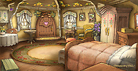 The only new Smurf Village location introduced in SMURFS 2 is Smurfette's home. This is one of the final illustrations