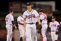 Mississippi Braves starting pitcher Kyle Wright (23) walks back to the dugout during a game against the Mobile BayBears on May 7, 2018 at Trustmark park in Pearl, Mississippi.  Mobile defeated Mississippi 5-0.  (Mike Janes/Four Seam Images)