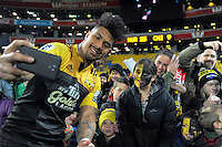 Ardie Savea takes a selfy with fans after the Super Rugby semifinal match between the Hurricanes and Chiefs at Westpac Stadium, Wellington, New Zealand on Saturday, 30 July 2016. Photo: Dave Lintott / lintottphoto.co.nz