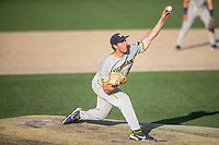 Michigan Wolverines pitcher Steven Hajjar (27) delivers a pitch to the plate during the NCAA baseball tournament against the Connecticut Huskies on June 4, 2021 at Frank Eck Stadium in Notre Dame, Indiana. The Huskies defeated the Wolverines 6-1. (Andrew Woolley/Four Seam Images)