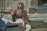 A over 100 year old Sadhu with his incredible long hair at the Shambhu Nath Hindu Cremation Area, Kathmandu Nepal