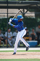 GCL Blue Jays center fielder Aldo Ovando (71) at bat during a game against the GCL Pirates on July 20, 2017 at Bobby Mattick Training Center at Englebert Complex in Dunedin, Florida.  GCL Pirates defeated the GCL Blue Jays 11-6 in eleven innings.  (Mike Janes/Four Seam Images)