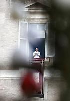 Papa Francesco recita l'Angelus affacciato su piazza San Pietro dalla finestra del suo studio. Citta' del Vaticano, 26 dicembre, 2017.<br /> Pope Francis recites the Angelus noon prayer from the window of his studio overlooking St. Peter's Square, at the Vatican, on December 26, 2017.<br /> UPDATE IMAGES PRESS/Isabella Bonotto<br /> <br /> STRICTLY ONLY FOR EDITORIAL USE