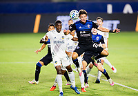 CARSON, CA - OCTOBER 14: Carlos Fierro #21 of the San Jose Earthquakes heads a ball during a game between San Jose Earthquakes and Los Angeles Galaxy at Dignity Heath Sports Park on October 14, 2020 in Carson, California.