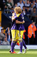 Pictured L-R: Pablo Hernandez of Swansea celebrating his goal with team mate Jose Canas.<br /> Sunday 01 September 2013<br /> Re: Barclay's Premier League, West Bromwich Albion v Swansea City FC at The Hawthorns, Birmingham, UK.