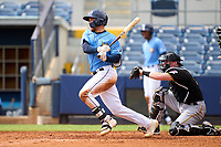 FCL Rays Roberto Alvarez (91) bats during a game against the FCL Pirates Black on August 3, 2021 at Charlotte Sports Park in Port Charlotte, Florida.  (Mike Janes/Four Seam Images)