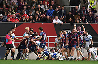 1st October 2021;  Ashton Gate Stadium, Bristol, South Gloucestershire, England; Gallagher Premier League rugby, Bristol Bears versus Bath Rugby: Bristol Bears celebrate scoring a try and retaking the lead