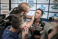 Dries De Bondt (BEL/Verandas Willems) washed post-race before being interviewed post-race as the new overall leader in the Napoleon Games Cycling Cup<br /> <br /> 101st Kampioenschap van Vlaanderen 2016 (UCI 1.1)<br /> Koolskamp › Koolskamp (192.4km)