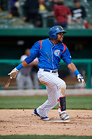 South Bend Cubs right fielder Chris Pieters (28) follows through on a swing during a game against the Kane County Cougars on May 3, 2017 at Four Winds Field in South Bend, Indiana.  South Bend defeated Kane County 6-2.  (Mike Janes/Four Seam Images)