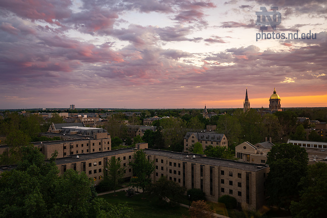 June 1, 2020; Sunset over campus, Pasquerilla West in foreground (Photo by Matt Cashore/University of Notre Dame)