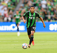 AUSTIN, TX - JUNE 19: Cecilia Dominguez #10 of Austin FC looks to pass the ball during a game between San Jose Earthquakes and Austin FC at Q2 Stadium on June 19, 2021 in Austin, Texas.