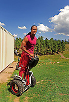 Jul 31, 2009; Flagstaff, AZ, USA; Arizona Cardinals wide receiver Larry Fitzgerald rides a segway scooter during training camp on the campus of Northern Arizona University. Mandatory Credit: Mark J. Rebilas-