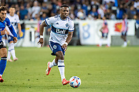 SAN JOSE, CA - AUGUST 13: Cristian Daaome #11 of the Vancouver Whitecaps dribbles the ball during a game between San Jose Earthquakes and Vancouver Whitecaps at PayPal Park on August 13, 2021 in San Jose, California.