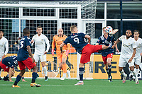 FOXBOROUGH, MA - MAY 1: Adam Buksa #9 of New England Revolution reacts to a rebound off a corner kick during a game between Atlanta United FC and New England Revolution at Gillette Stadium on May 1, 2021 in Foxborough, Massachusetts.