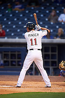 Nashville Sounds shortstop Chad Pinder (11) at bat during a game against the Iowa Cubs on May 3, 2016 at First Tennessee Park in Nashville, Tennessee.  Iowa defeated Nashville 2-1.  (Mike Janes/Four Seam Images)