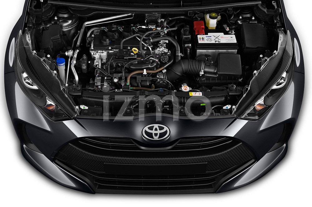 Car Stock 2020 Toyota Yaris Dynamic 5 Door Hatchback Engine  high angle detail view