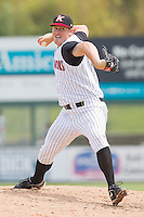 Relief pitcher Leroy Hunt #35 of the Kannapolis Intimidators in action against the Lexington Legends at Fieldcrest Cannon Stadium on May 11, 2011 in Kannapolis, North Carolina.   Photo by Brian Westerholt / Four Seam Images