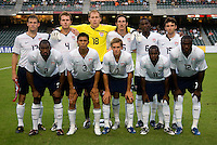 The USMNT starting XI lines up at Hong Kong Stadium.  The US Men's Olympic team tied Ivory Coast, 0-0, during the ING Cup in Hong Kong.