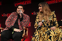 """NEW YORK CITY - OCTOBER 10: Harvey Guillén and Natasia Demetriou attend a 2021 New York Comic Con event for FX's """"What We Do In The Shadows"""" at the Javits Center on October 10, 2021 in New York City.  (Photo by Ben Hider/FX//PictureGroup)"""