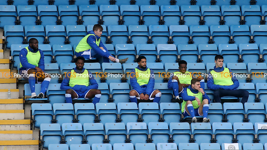 The seven Gillingham substitutes social distance in the stand, knowing that five of them may now be called upon during Gillingham vs Charlton Athletic, Sky Bet EFL League 1 Football at the MEMS Priestfield Stadium on 21st November 2020