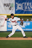 Tri-City ValleyCats second baseman Michael Wielansky (17) throws to first base during a game against the Vermont Lake Monsters on June 16, 2018 at Joseph L. Bruno Stadium in Troy, New York.  Vermont defeated Tri-City 6-2.  (Mike Janes/Four Seam Images)
