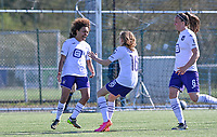 Kassandra Missipo (12) of Anderlecht pictured celebrating after scoring a goal during a female soccer game between Club Brugge Dames YLA and RSC Anderlecht on the fourth matchday in Play-Off 1 of the 2020 - 2021 season of Belgian Scooore Womens Super League , saturday 1st May 2021  in Brugge , Belgium . PHOTO SPORTPIX.BE | SPP | DAVID CATRY