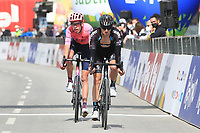 20th April 2021; Cycling Tour of the Alps Stage 2, Innsbruck, Feichten Im Kaunertal Austria;  Jai Hindley Team DSM and left Hugh Carthy EF Education - Nippo