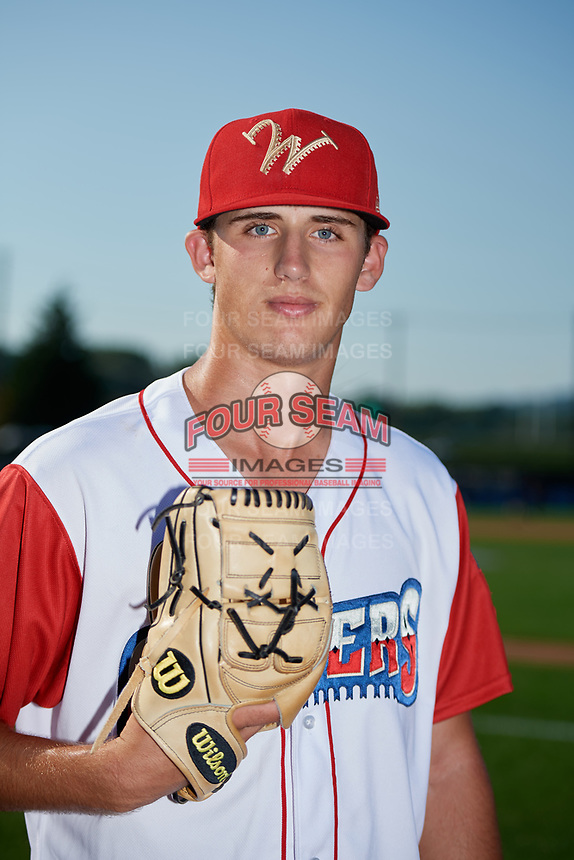 Williamsport Crosscutters pitcher Ethan Lindow (19) poses for a photo before a game against the Mahoning Valley Scrappers on August 28, 2018 at BB&T Ballpark in Williamsport, Pennsylvania.  Williamsport defeated Mahoning Valley 8-0.  (Mike Janes/Four Seam Images)