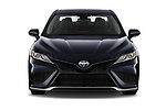 Car photography straight front view of a 2021 Toyota Camry-Hybrid XSE 4 Door Sedan Front View