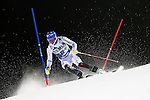 competes during the first run of the FIS Alpine Ski World Cup Men's Slalom in Madonna di Campiglio, on December 22, 2014.