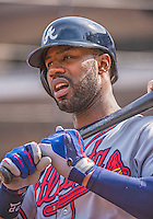 14 April 2013: Atlanta Braves right fielder Jason Heyward stands on deck during a game against the Washington Nationals at Nationals Park in Washington, DC. The Braves shut out the Nationals 9-0 to sweep their 3-game series. Mandatory Credit: Ed Wolfstein Photo *** RAW (NEF) Image File Available ***