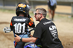 Jaggar Townley with dad Ben Townley. New Zealand Motocross Age Group Nationals, TECT All Terrain Park, Bay of Plenty, Sunday 7 February 2021. Photo: Simon Watts/www.bwmedia.co.nz