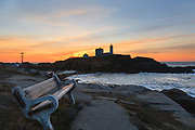 "Cape Neddick ""Nubble"" Light at sunrise in York, Maine USA during the spring months. This lighthouse was built in 1879."