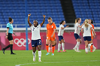 YOKOHAMA, JAPAN - JULY 30: Crystal Dunn #2 of the United States celebrates a goal during a game between Netherlands and USWNT at International Stadium Yokohama on July 30, 2021 in Yokohama, Japan.