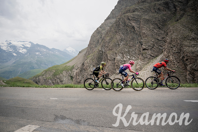 race leader group, with Vincenzo Nibali (ITA/Bahrain-Merida), Rigoberto Uran (COL/EF EducationFirst) & Simon Yates (GBR/Michelton-Scott) up the Col de l'Iseran (HC/2751m/13km@7.3%) <br /> > where the race was eventually stopped (at the top) because of landslides further up the road (after a severe hail storm in Tignes)<br /> <br /> Stage 19: Saint-Jean-de-Maurienne to Tignes(126km)<br /> 106th Tour de France 2019 (2.UWT)<br /> <br /> ©kramon