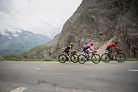 race leader group, with Vincenzo Nibali (ITA/Bahrain-Merida), Rigoberto Uran (COL/EF EducationFirst) & Simon Yates (GBR/Michelton-Scott) up the Col de l'Iseran (HC/2751m/13km@7.3%) <br /> > where the race was eventually stopped (at the top) because of landslides further up the road (after a severe hail storm in Tignes)<br /> <br /> Stage 19: Saint-Jean-de-Maurienne to Tignes (126km)<br /> 106th Tour de France 2019 (2.UWT)<br /> <br /> ©kramon