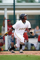 GCL Pirates third baseman Johan De Jesus (27) at bat during a game against the GCL Phillies on August 6, 2016 at Pirate City in Bradenton, Florida.  GCL Phillies defeated the GCL Pirates 4-1.  (Mike Janes/Four Seam Images)