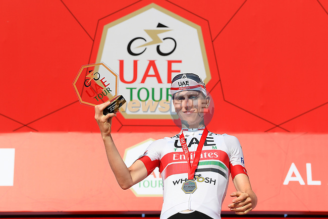 Tadej Pogacar (SLO) UAE Team Emirates wins Stage 5 the Al Ain Water Stage of the UAE Tour 2020 running 162km from Al Ain to Jebel Hafeet, Dubai. 27th February 2020.<br /> Picture: LaPresse/Fabio Ferrari | Cyclefile<br /> <br /> All photos usage must carry mandatory copyright credit (© Cyclefile | LaPresse/Fabio Ferrari)