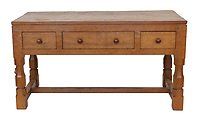 BNPS.co.uk (01202 558833)<br /> Pic: Tennants/BNPS<br /> <br /> Pictured: An English Oak table/desk with a carving of a mouse on the leg.<br /> <br /> Celebrity chef Marco Pierre White is selling his £90,000 collection of highly sought-after 'Mouseman' furniture that has graced his country hotel.<br /> <br /> The items were created by Robert 'Mousey' Thompson who earned his nickname by carving a small mouse somewhere into each piece of oak furniture he made.<br /> <br /> Marco Pierre White began collecting Mouseman furniture many years ago and installed it in his Rudloe Arms hotel in Wiltshire.<br /> <br /> The Michelin starred-chef has acquired so much of it that some of the items are now surplus to requirement.
