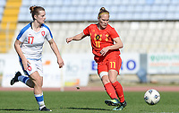 20180228 - LARNACA , CYPRUS :  Belgian Janice Cayman (r) pictured in action with Czech Tereza Szewieczkova (left) during a women's soccer game between The Belgian Red Flames and the Czech Republic , on wednesday 28 February 2018 at GSZ Stadium in Larnaca , Cyprus . This is the first game in group B for Belgium during the Cyprus Womens Cup , a prestigious women soccer tournament as a preparation on the World Cup 2019 qualification duels. PHOTO SPORTPIX.BE   DAVID CATRY
