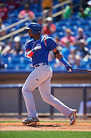 South Bend Cubs left fielder Eloy Jimenez (27) at bat during a game against the Lake County Captains on July 27, 2016 at Classic Park in Eastlake, Ohio.  Lake County defeated South Bend 5-4.  (Mike Janes/Four Seam Images)