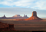 Artist's Point at Sunset, Big Indian, Brigham's Tomb, Castle, Bear and Rabbit, Stagecoach and East Mitten Buttes, Monument Valley Navajo Tribal Park, Navajo Nation Reservation, Utah/Arizona Border