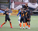 01.11.2020 Kilmarnock v Rangers:  James Tavernier scores from the spot and is mobbed by his team mates