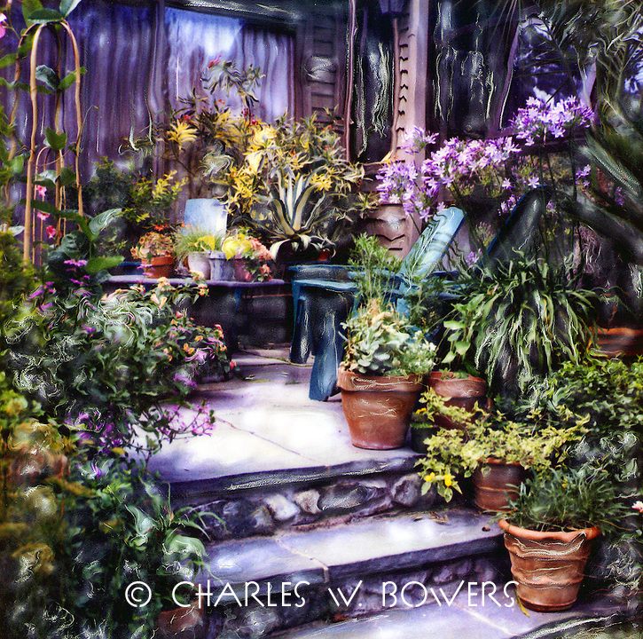 My favorite retreat in the warm months is my stone patio. I've surrounded myself with the plants and flowers that I love. Come for a visit soon.<br /> <br /> -Limited Edition of 50 Prints