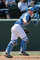 Tyler Heineman #8 of the UCLA Bruins throws to first base during a game against the Washington State Cougars at Jackie Robinson Stadium on March 24, 2012 in Los Angeles,California. UCLA defeated Washington 12-3.(Larry Goren/Four Seam Images)