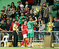 18th April 2021; HBF Park, Perth, Western Australia, Australia; A League Football, Perth Glory versus Wellington Phoenix; Wellington players Cameron Devlin and Oliver Sail celebrate with fans after they defeated Perth Glory 1-3