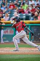 Orlando Calixte (2) of the Sacramento River Cats bats against the Salt Lake Bees at Smith's Ballpark on May 17, 2018 in Salt Lake City, Utah. Salt Lake defeated Sacramento 12-11. (Stephen Smith/Four Seam Images)