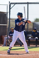San Diego Padres first baseman Brad Zunica (25) at bat during an Instructional League game against the Milwaukee Brewers on September 27, 2017 at Peoria Sports Complex in Peoria, Arizona. (Zachary Lucy/Four Seam Images)