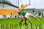 Micheal Slattery, Kerry in action against Matthew Donnelly, Antrim during the Allianz Hurling League Division 2A Final match between Antrim and Kerry at Bord na Mona O'Connor Park in Tullamore, Offaly.